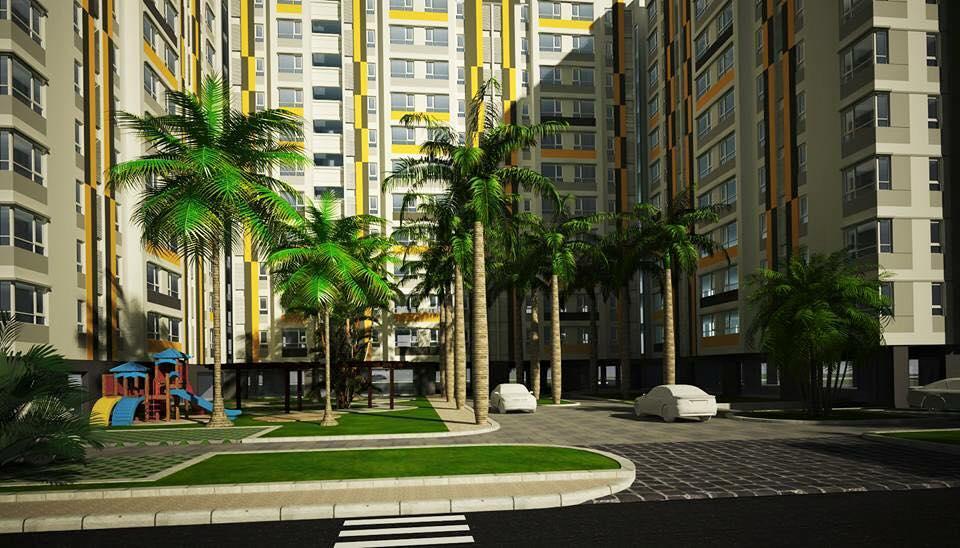 không gian xanh bên ngoài chung cư