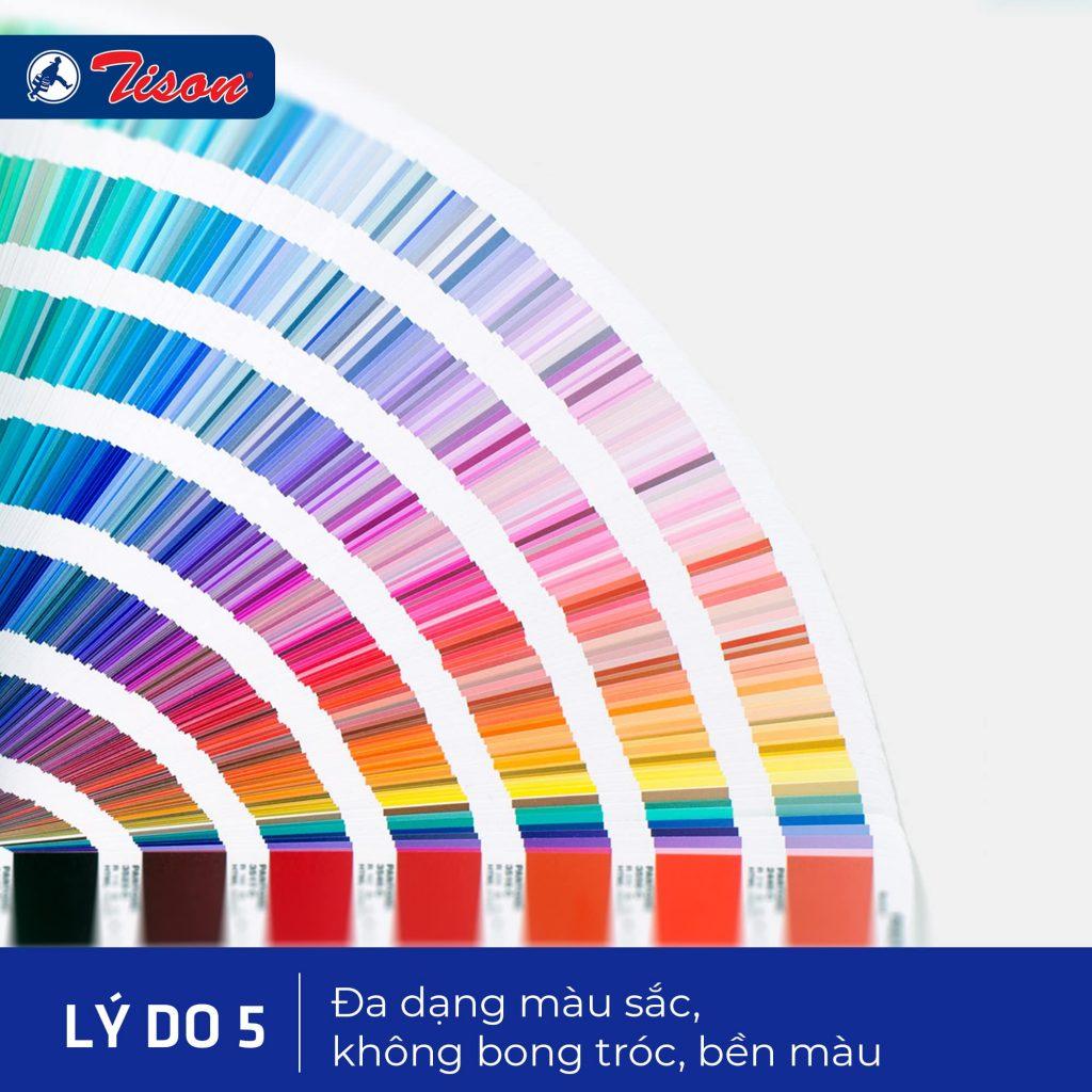 Màu sắc đa dạng, bền màu